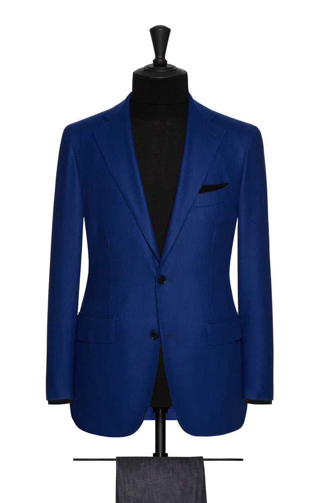 Loro Piana Cobalt Blue Merino Wool Felted Herringbone