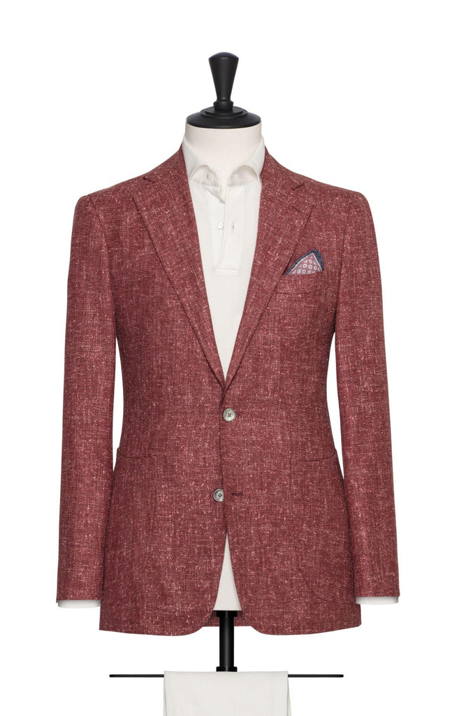 LORO PIANA BLUSH RED SLUBBED WOOL-SILK-LINEN BLEND