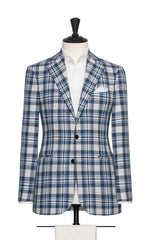 Angelico mixed blue and ivory cotton-wool blend bold check Jacket