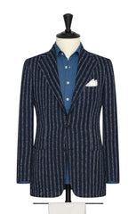 navy slubbed linen blend with light blue and beige stripes Inspiration