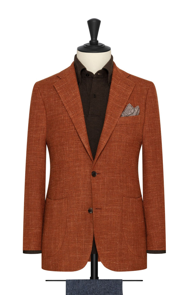 Angelico Burnt Orange Merino Wool & Linen Blend Mesh
