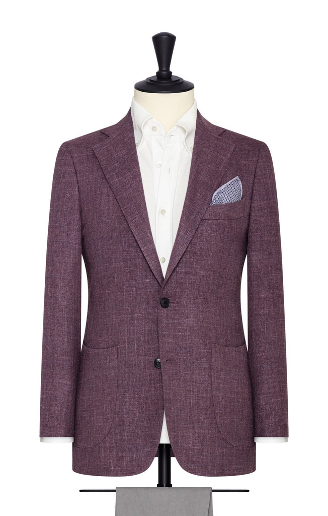 Loro Piana mauve wool, silk & linen basketweave with blue specks