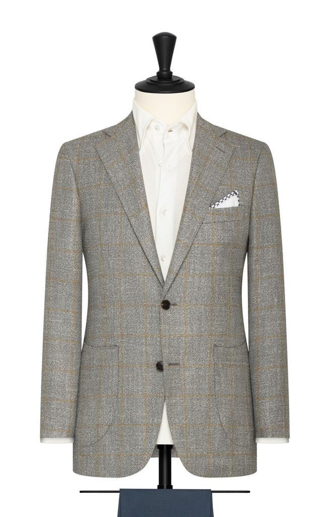 grey wool silk linen textured twill with yellow windowpane