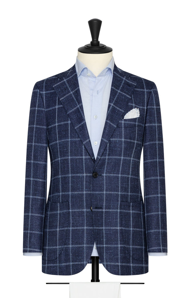 dark blue mélange wool silk linen textured twill with white windowpane