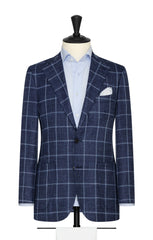 dark blue mélange wool silk linen textured twill with white windowpane Inspiration