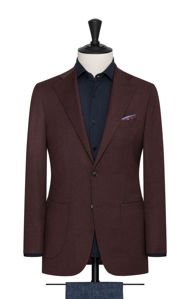 Paulo Oliveira Travel Jacket in Burgundy Stretch Merino Wool