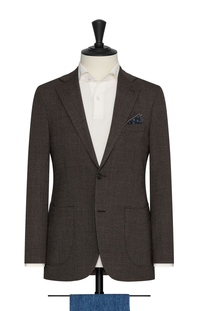 Paulo Oliveira Travel Jacket in Dark Brown Grey Sharkskin Stretch Merino Wool