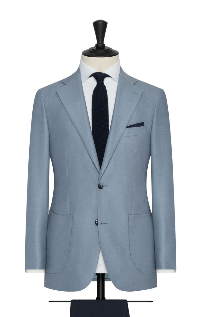 Loro Piana Light Teal Smoke Blue Brushed Merino Wool