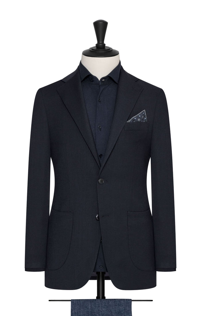 Paulo Oliveira Travel Jacket in Dark Indigo Stretch Merino Wool