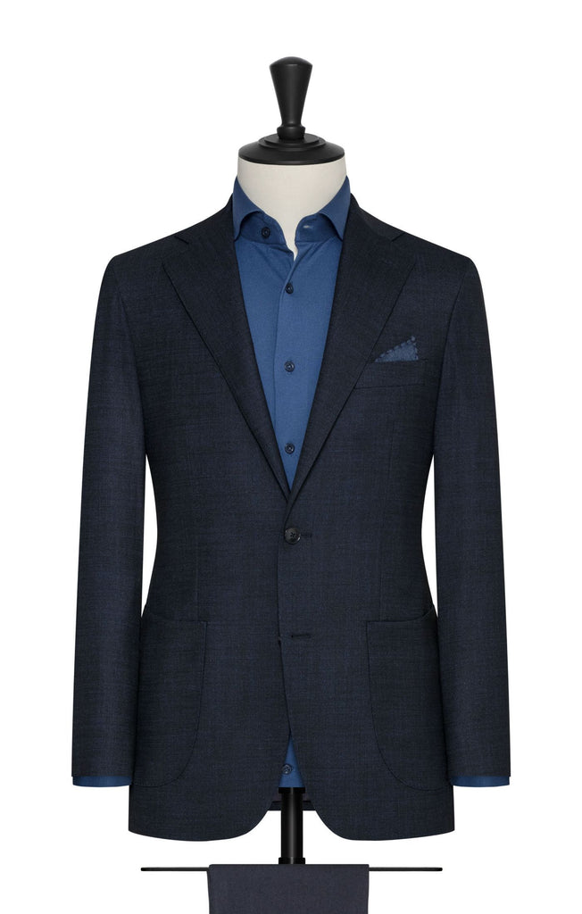 Paulo Oliveira Stretch Blazer in Navy Blue Merino Wool