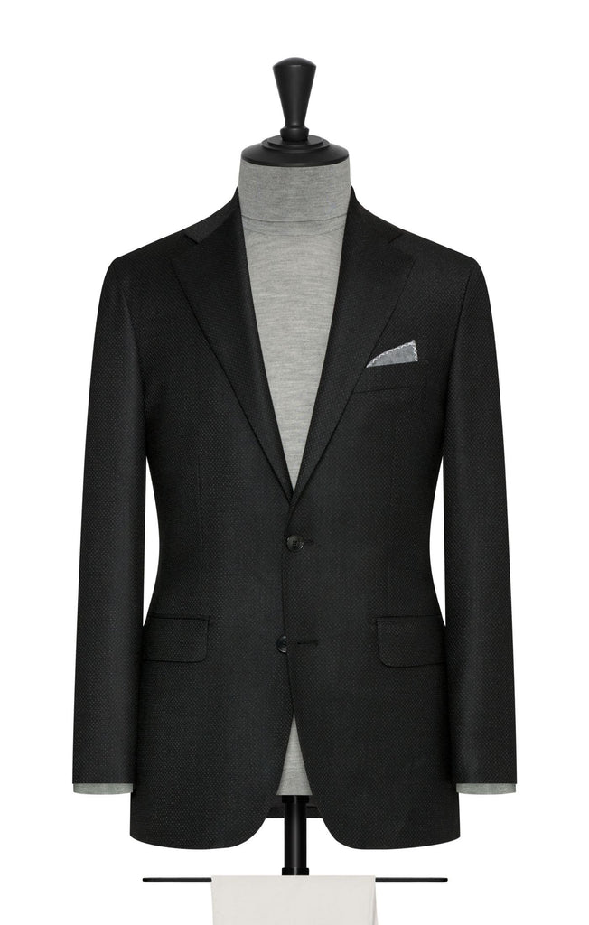 Paulo Oliveira Travel Jacket in Black-Pepper Speckled Stretch Merino Wool