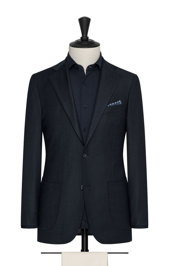 Paulo Oliveira Travel Jacket in Dark Speckled Blue Stretch Merino Wool