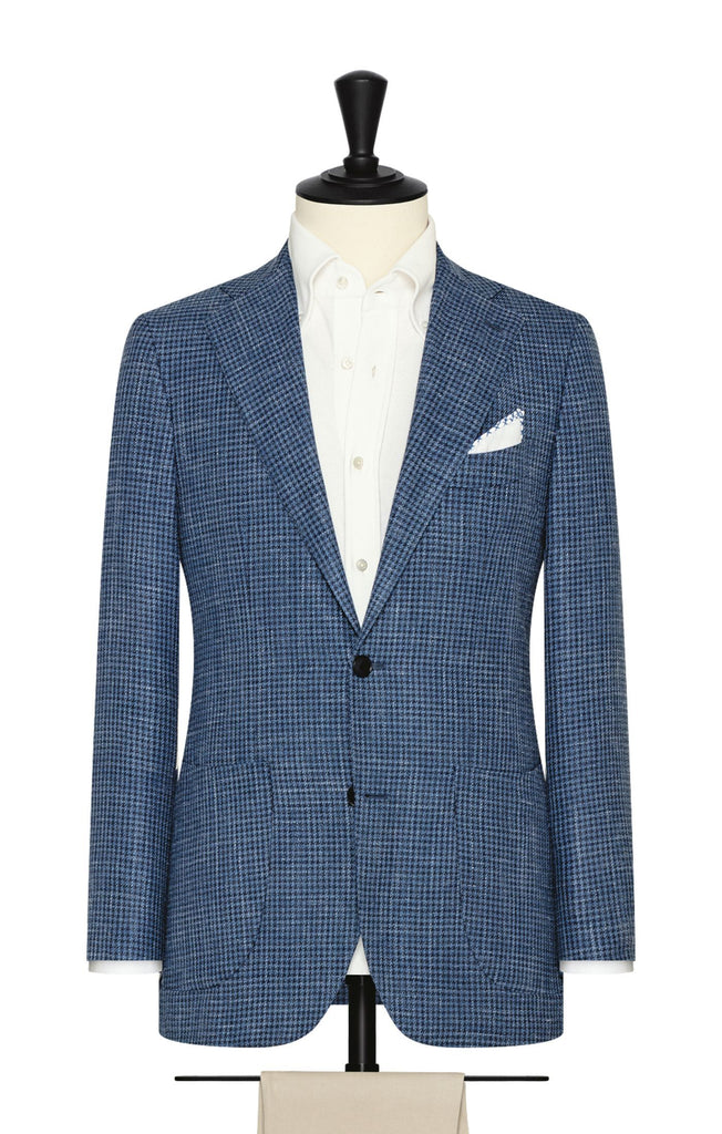 Drago Mid & Dark Blue Houndstooth Merino Wool, Silk & Linen