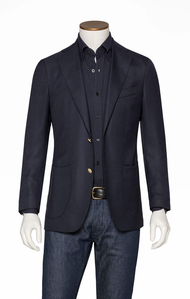 Barberis Canonico Micro Design Blazer Merino Wool Midnight Blue