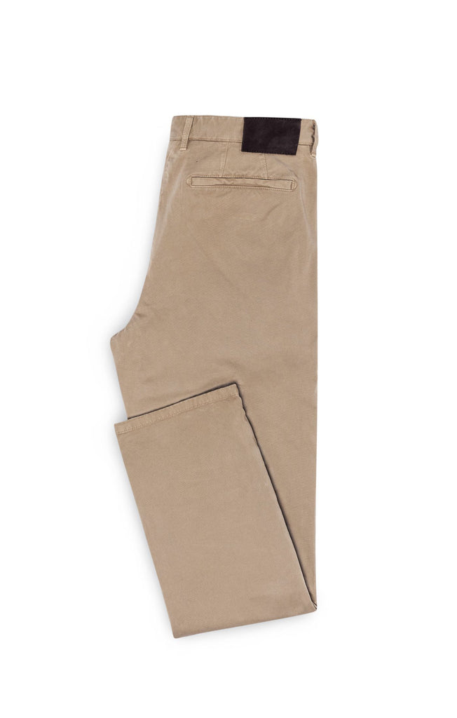 Cotton Sand Garment Dyed Stretch Broken Twill
