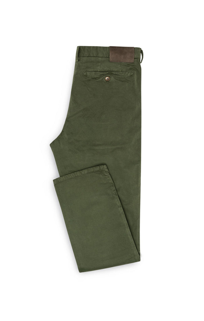 Cotton Dusty Olive Garment Dyed Stretch Broken Twill