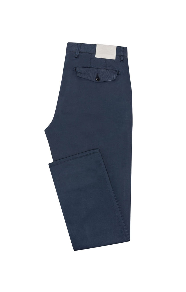dark blue garment dyed stretch fine twill