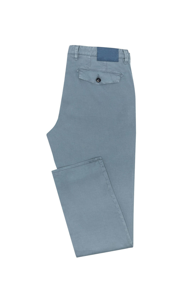 Cotton Slate Blue Garment Dyed Stretch Fine Twill