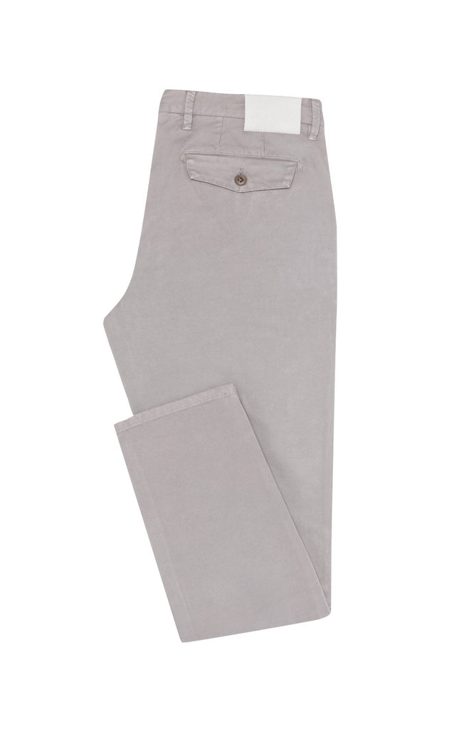 Cotton Light Grey Garment Dyed Stretch Fine Twill