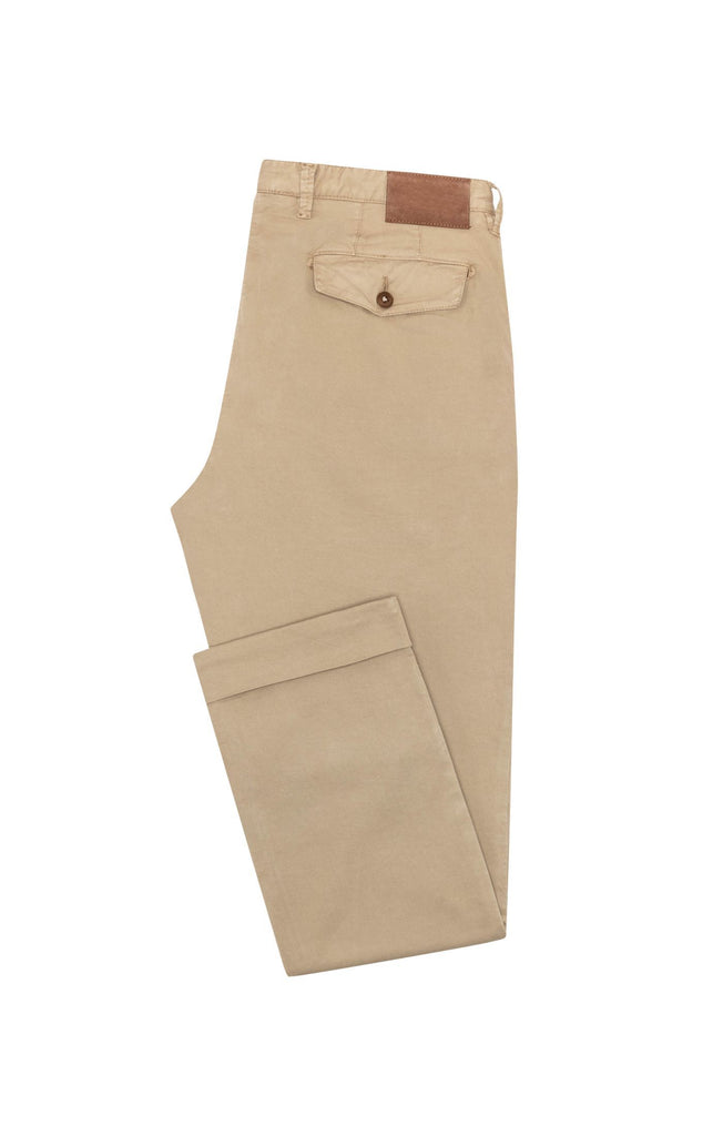 Cotton Khaki Garment Dyed Stretch Fine Twill