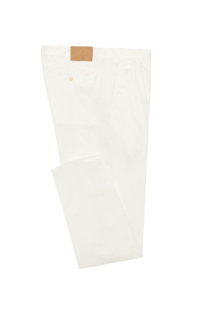 Cotton Off White Garment Dyed Stretch Fine Twill