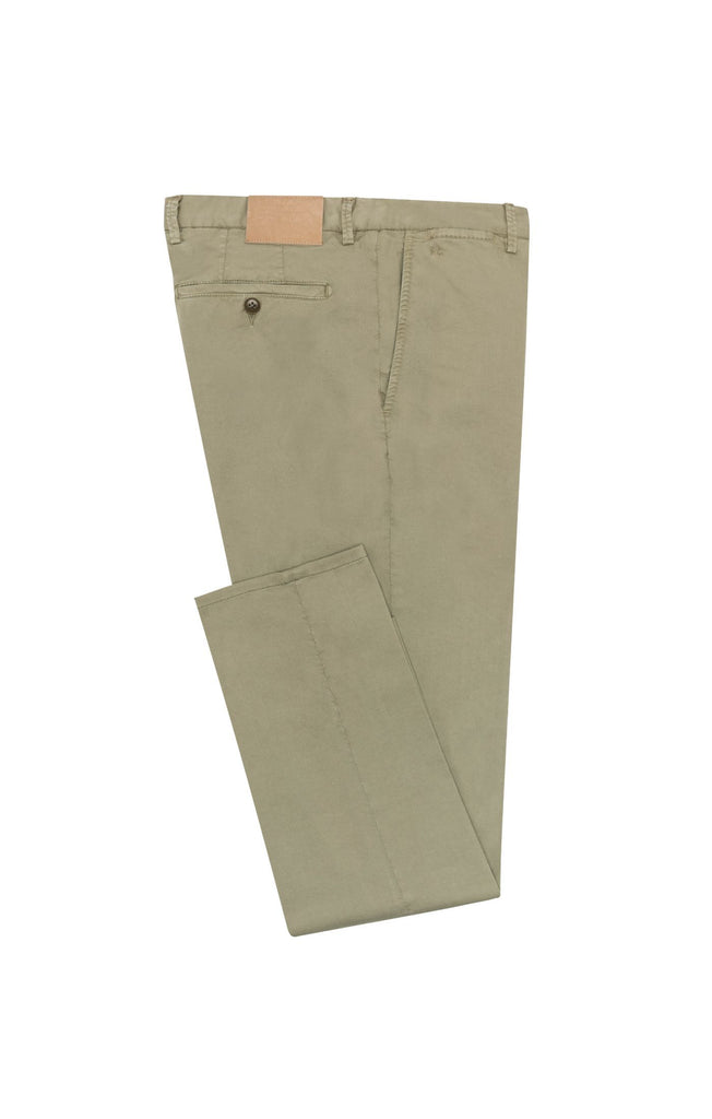 light olive garment dyed stretch fine twill