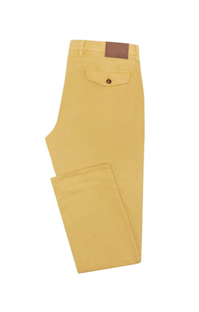 Cotton Mustard Yellow Garment Dyed Stretch Fine Twill