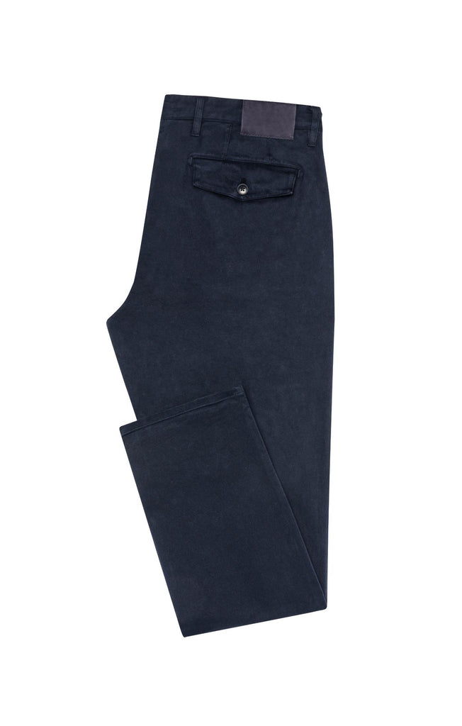 Cotton Dark Blue Garment Dyed Stretch Broken Twill