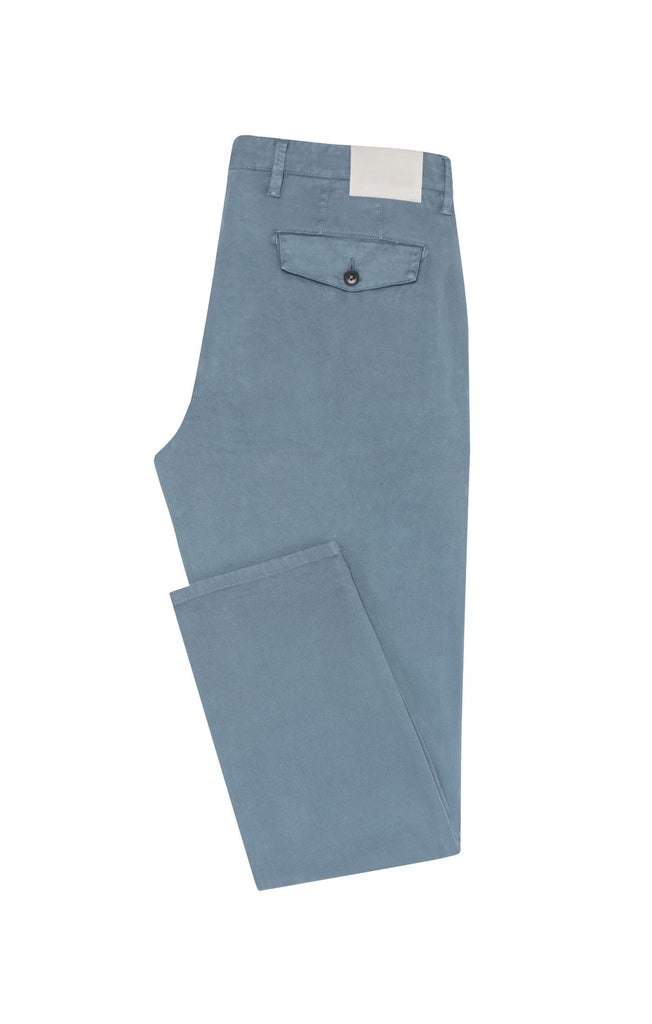 Cotton Slate Blue Garment Dyed Stretch Broken Twill