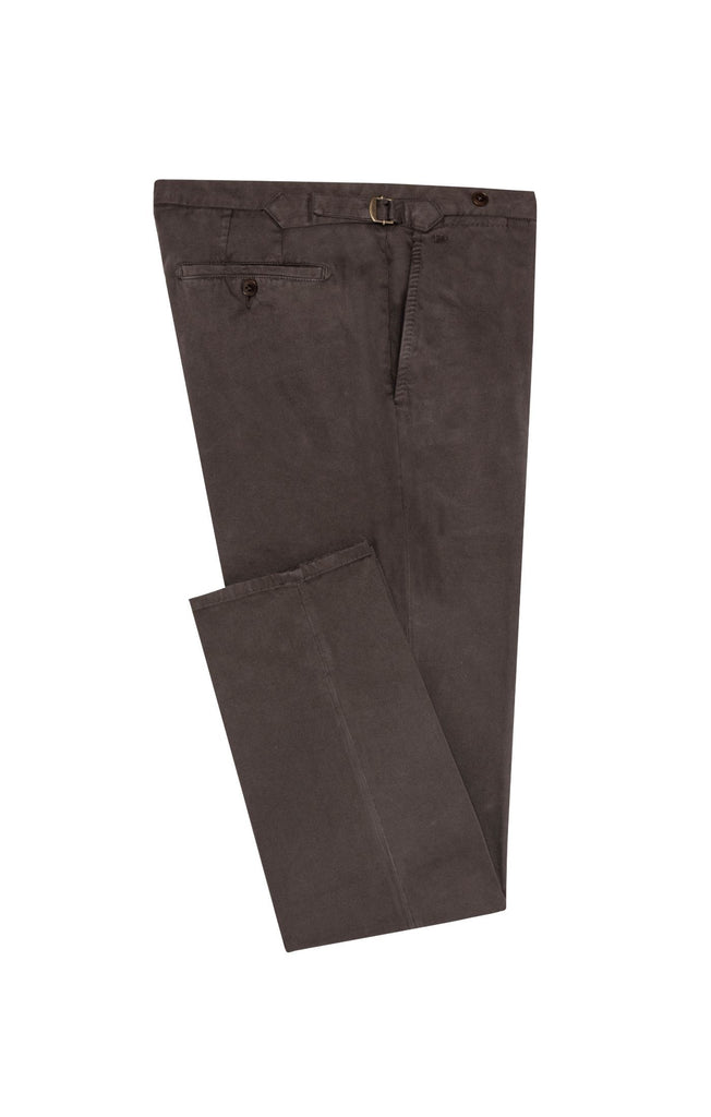 dark brown garment dyed stretch broken twill