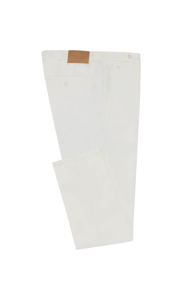 Cotton Off White Garment Dyed Stretch Broken Twill