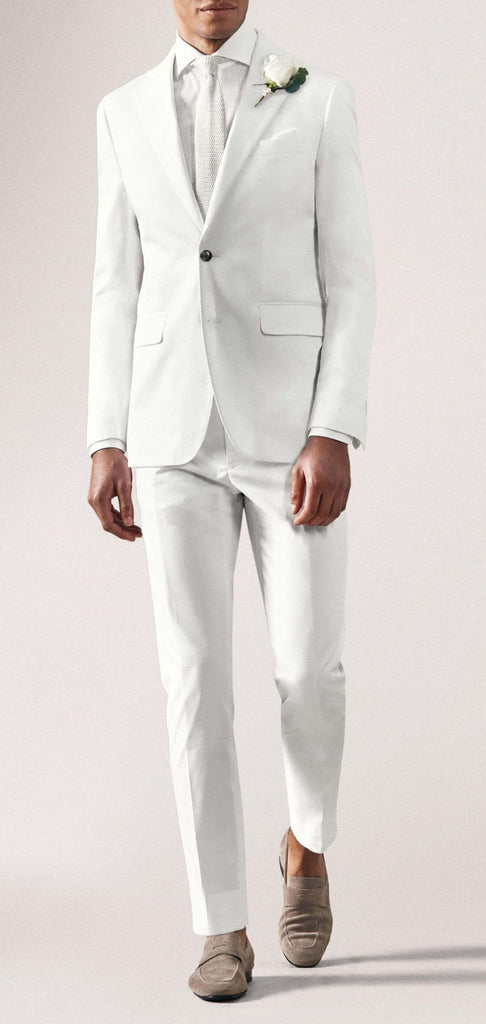 Larusmiani White Cotton Stretch Fine Gabardine