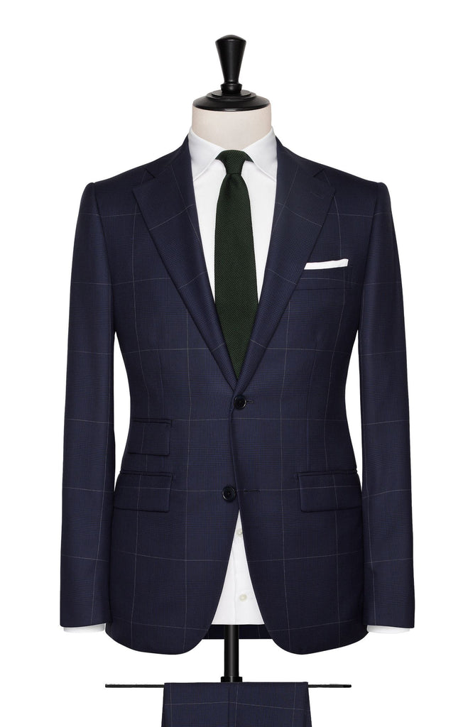 dark blue wide glencheck with white windowpane