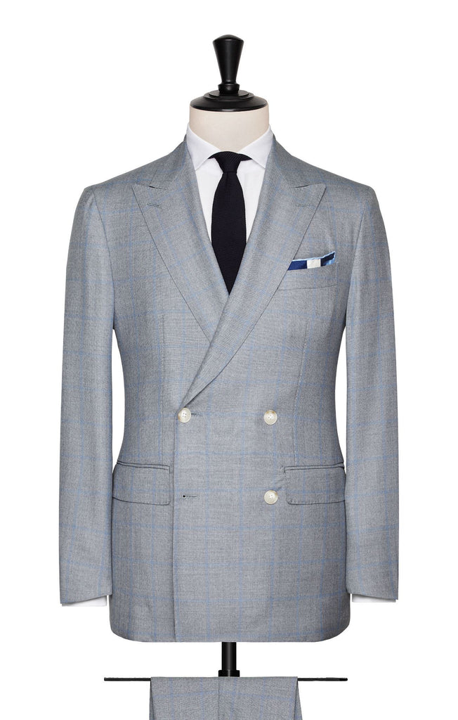 Barberis Canonico Blue Grey Mélange S130 Merino Wool Doppio Ritorto Sharkskin with Light Blue Windowpane