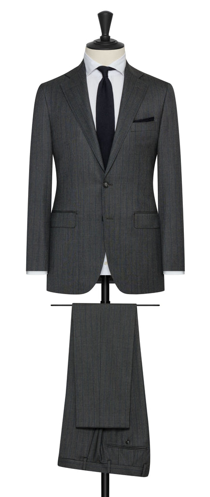 Barberis Canonico Charcoal Doppio Ritorto Super 130 Merino Wool Sharkskin with Navy Stripe