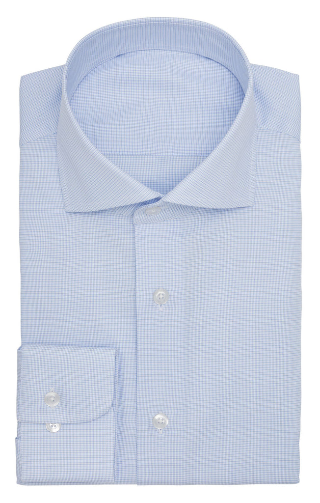 Albini light blue fine check