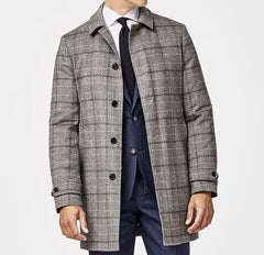 Piacenza Grey Speckled Brushed Wool & Cashmere Unconstructed Glencheck with Dark Grey Windowpane
