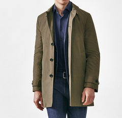 Car Coat Unconstructed Olmetex Olive Green Cotton Blend Windbreaker