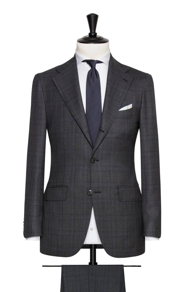 Barberis Canonico 'Revenge Collection' S150 Anthracite Glencheck Doppio Ritorto Tropical Merino Wool