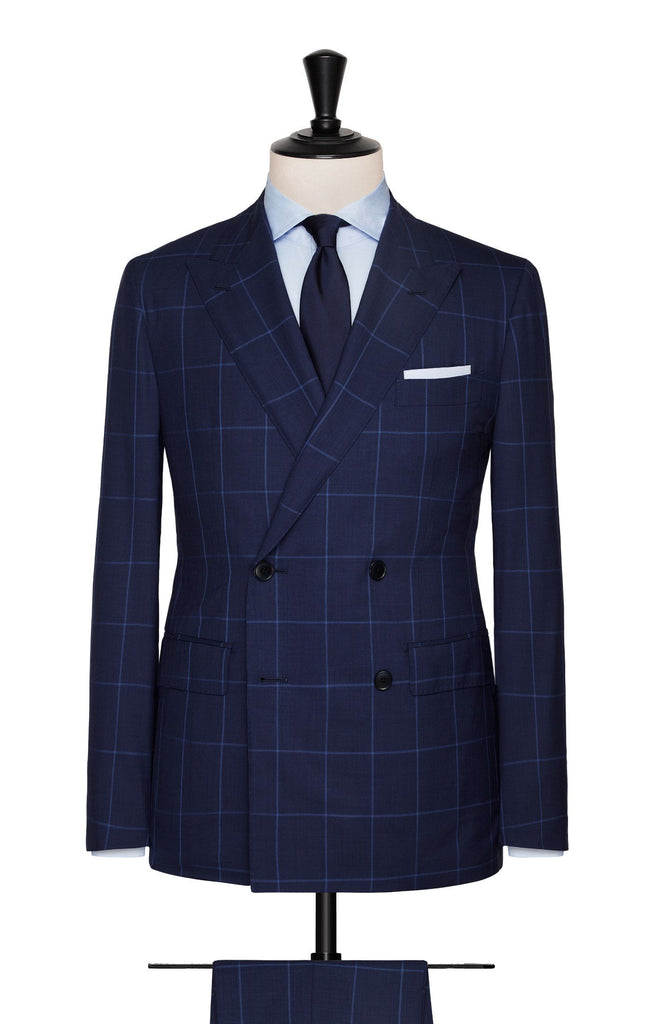 mid blue dark blue tropical with light blue windowpane