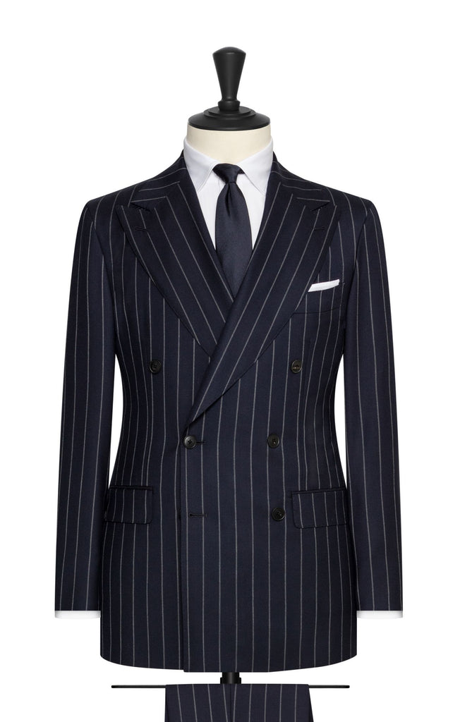 navy wool twill with light grey chalk stripes