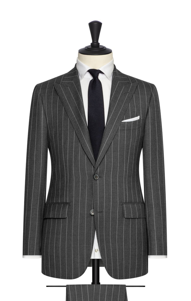 Barberis Canonico 'Revenge Collection' S150 Dark Grey Doppio Ritorto Merino Wool Twill with Light Grey Chalk Stripes