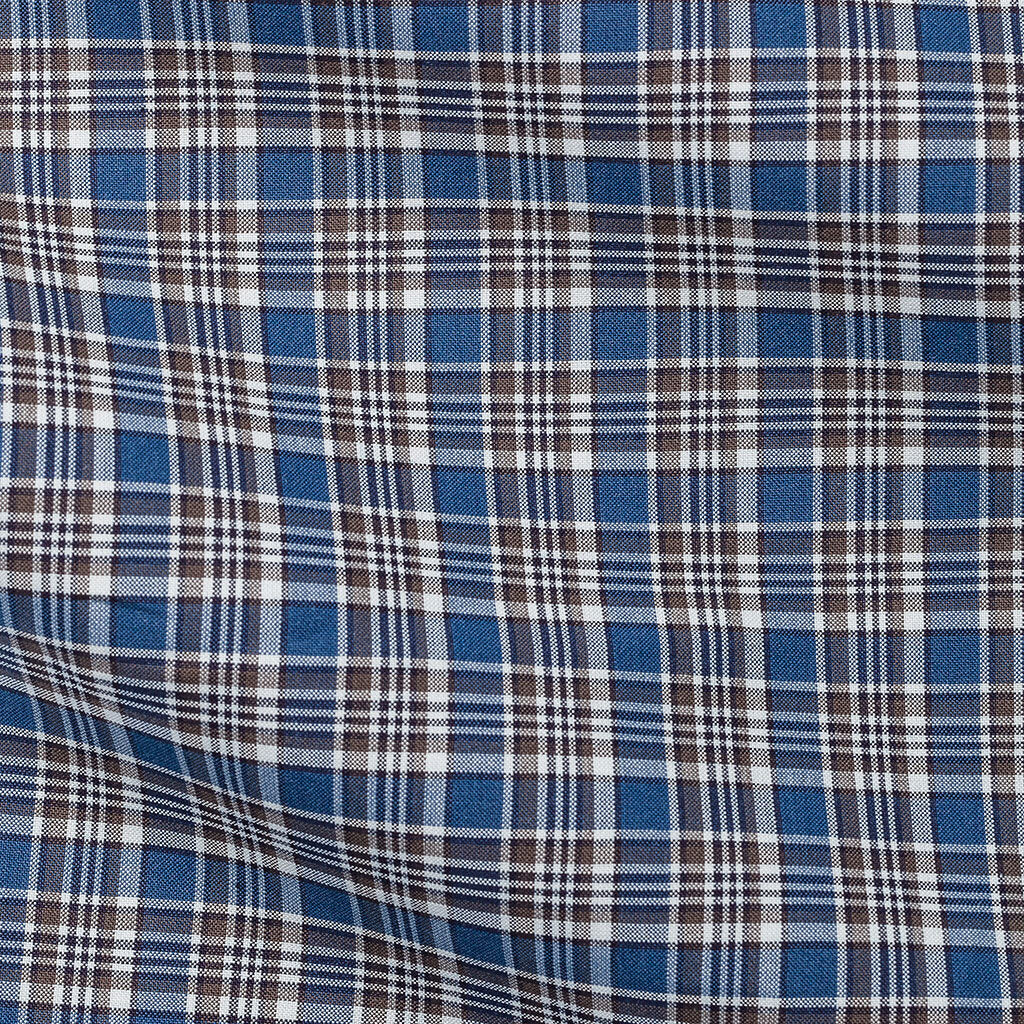 Albiate Plain Weave Check Blue & Brown Two Ply Cotton