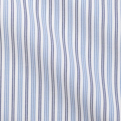 Albiate Plain Weave Stripe Light Blue & Dark Blue Two Ply Cotton