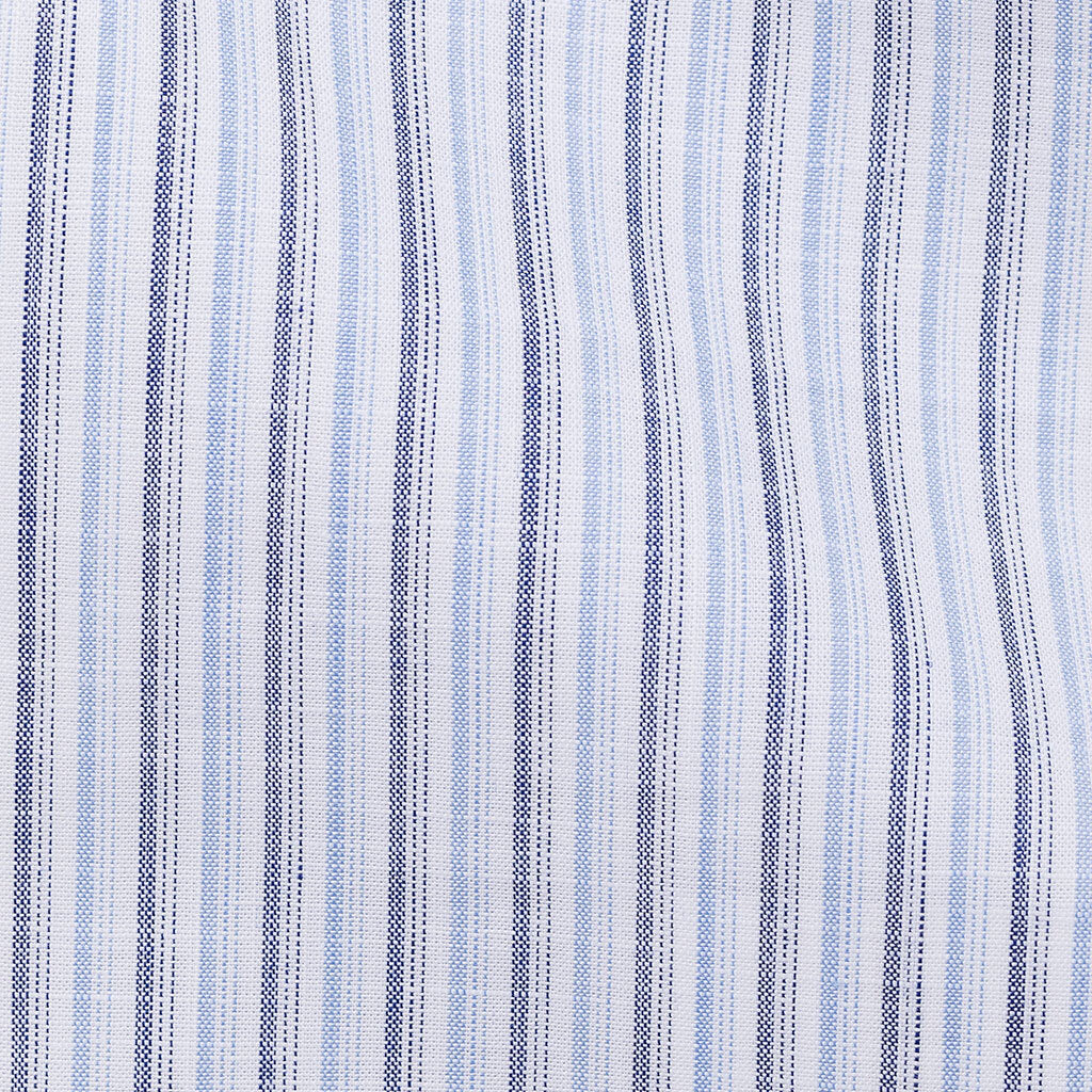 Thomas Mason Chambray Light Blue & Mid Blue Stripes Two Ply Cotton