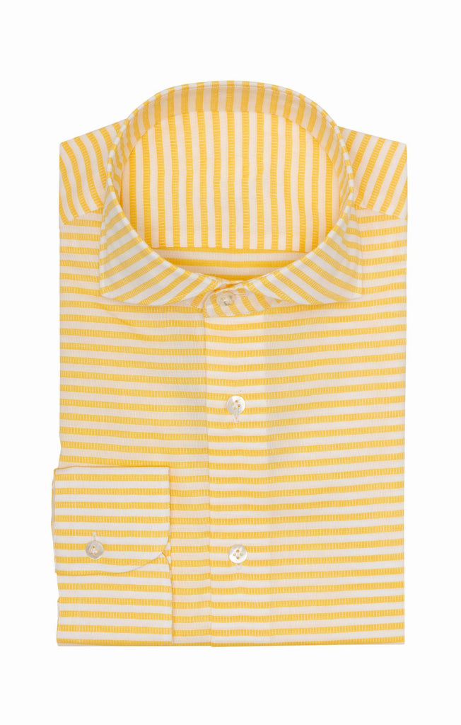 white ribbed cotton dobby with yellow stripes