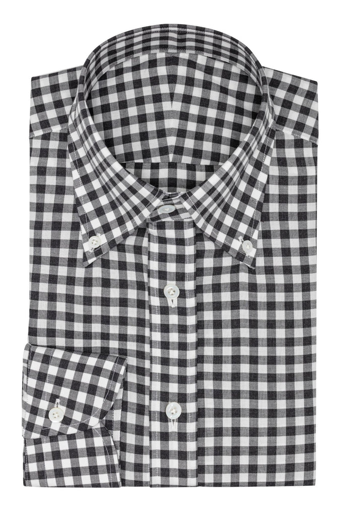 white cotton flannel with grey check