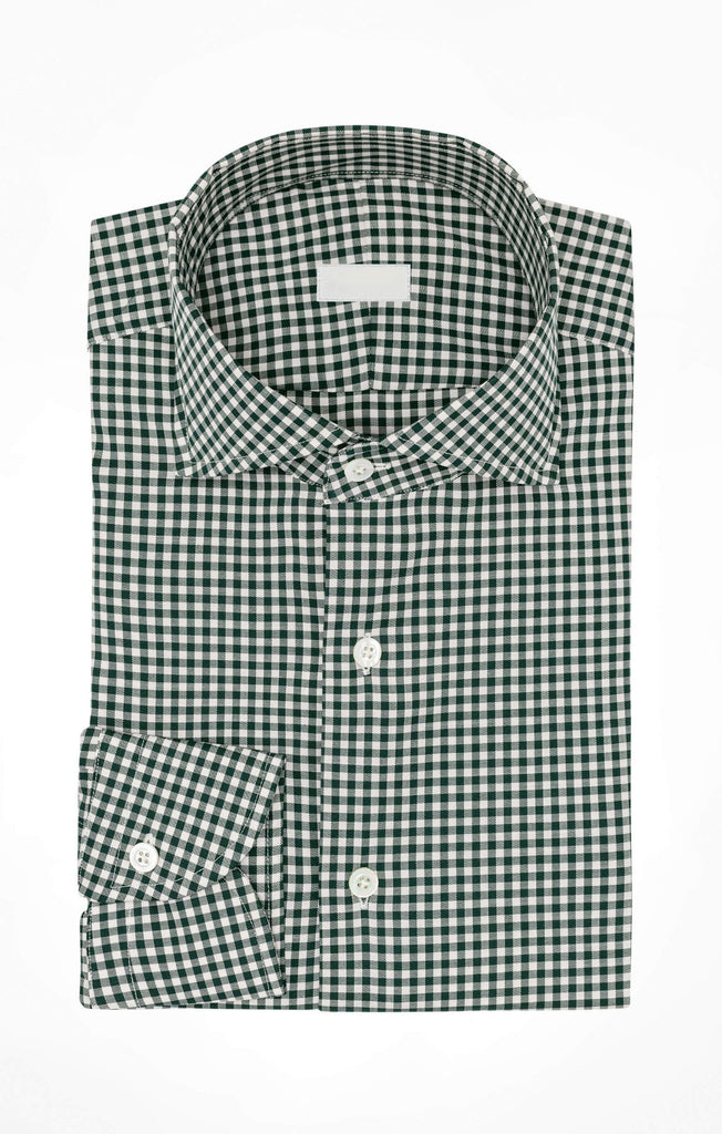 Albini Yoga Flan-Fam White Cotton with Forest Green Check