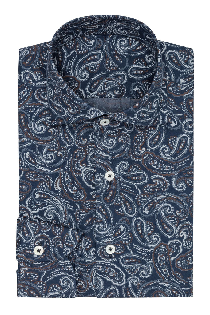 Thomas Mason Dark Blue Cotton Flannel with Paisley