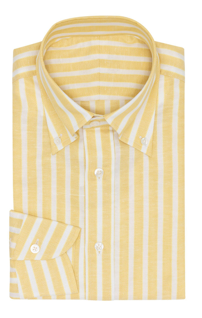 Weba lemon yellow cotton & linen basketweave with white stripes